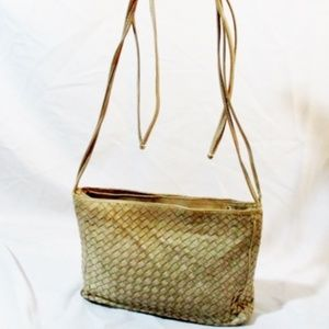Handmade COSCI ITALY leather woven shoulder purse